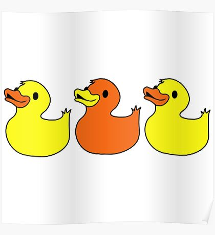 Three Rubber Ducks Duckies Funny Duck Shirts Poster