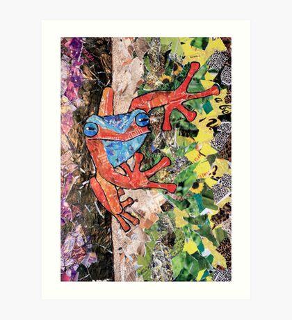 'Red Tree Frog' ~ Recycled Magazine Art  Art Print