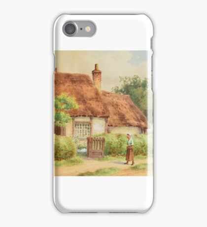 JOHN HENRY MOLE () A figure approaching an open gate to a thatched cottage iPhone Case/Skin