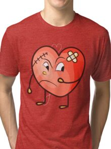 Wounded Broken Heart Valentines Day Tri-blend T-Shirt