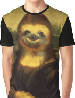 Mona Lisa as Sloth Print Graphic T-Shirt