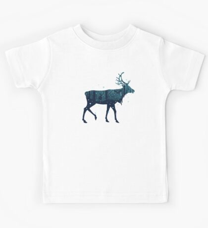 Snowy Winter Forest with Deer Kids Tee