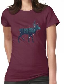 Snowy Winter Forest with Deer Womens Fitted T-Shirt