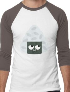 Onigiri Rice Ball Emoji Think Hard and Hmm Men's Baseball ¾ T-Shirt