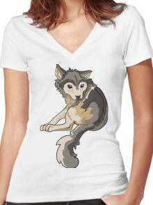 Nymeria Dire Wolf Cub Puppy Women's Fitted V-Neck T-Shirt