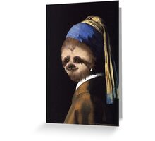The Sloth in the Pearl Earring Greeting Card