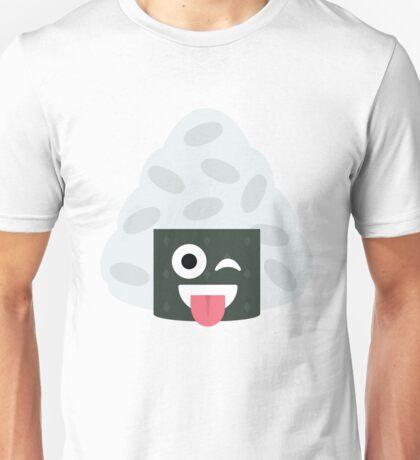 Onigiri Rice Ball Emoji Wink and Tongue Out Unisex T-Shirt