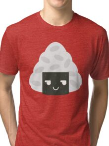 Onigiri Rice Ball Emoji Cheeky and Up to Something Tri-blend T-Shirt