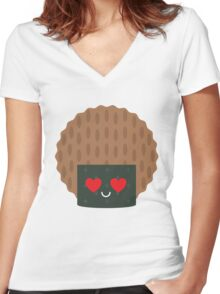 Seaweed Rice Cracker Heart and Love Eye Women's Fitted V-Neck T-Shirt