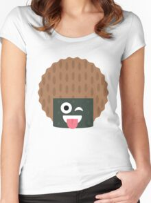Seaweed Rice Cracker Emoji Wink and Tongue Out Women's Fitted Scoop T-Shirt