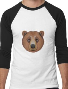 The head of an adult brown bear.  Men's Baseball ¾ T-Shirt