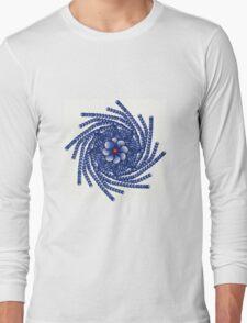 Blue orange abstract design Long Sleeve T-Shirt
