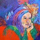 Girl in Blue scarf by Virginia McGowan
