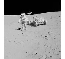 Apollo 15 astronaut walks away from the Lunar Roving Vehicle. Photographic Print