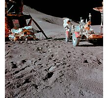 Apollo 15 astronaut works at the Lunar Roving Vehicle on the moon. Photographic Print