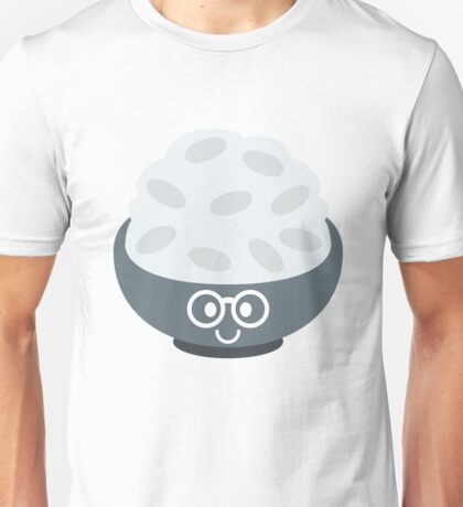 Rice Bowl Emoji Nerd Noob Glasses Unisex T-Shirt