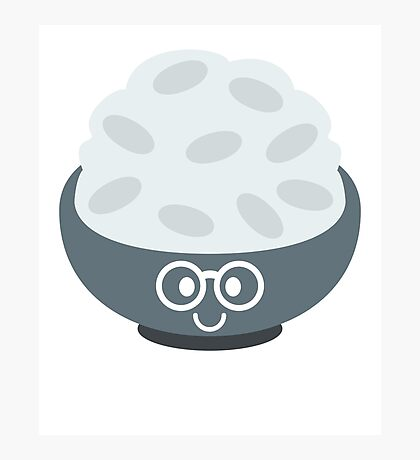 Rice Bowl Emoji Nerd Noob Glasses Photographic Print
