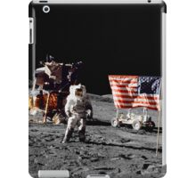 Apollo 17 astronaut stands near the United States flag on the lunar surface. iPad Case/Skin