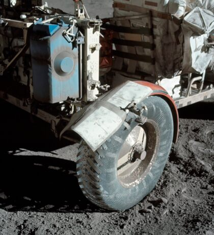 A close-up view of the lunar roving vehicle during Apollo 17 EVA. Sticker