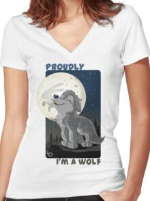 Proudly I'm a wolf Women's Fitted V-Neck T-Shirt