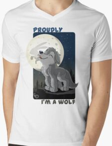 Proudly I'm a wolf Mens V-Neck T-Shirt