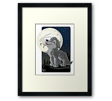 Little Wolf Howling Framed Print