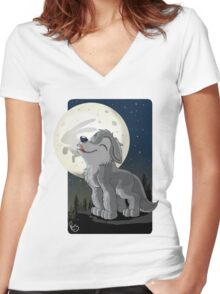 Little Wolf Howling Women's Fitted V-Neck T-Shirt