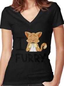 I ñawr FURRY Women's Fitted V-Neck T-Shirt