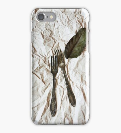 Vintage cutlery on a paper background iPhone Case/Skin