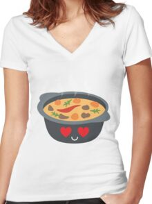 Hotpot Emoji Heart and Love Eye Women's Fitted V-Neck T-Shirt