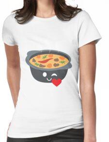 Hotpot Emoji Flirt and Blow Kiss Womens Fitted T-Shirt