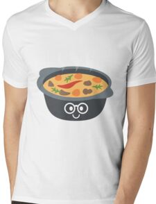 Hotpot Emoji Nerd Noob Glasses Mens V-Neck T-Shirt