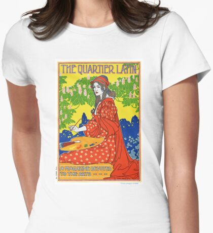 French Vintage Magazine Poster Restored Womens Fitted T-Shirt