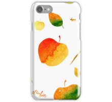 Watercolor apples and leaves iPhone Case/Skin