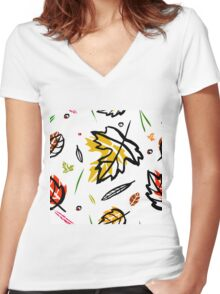 Pattern with autumn elements and templates Women's Fitted V-Neck T-Shirt