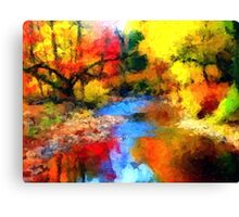 impressionist fall autumn landscape forest river song lake abstract  Canvas Print