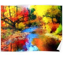 impressionist fall autumn landscape forest river song lake abstract  Poster