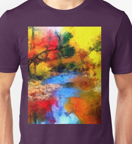 impressionist fall autumn landscape forest river song lake abstract  Unisex T-Shirt
