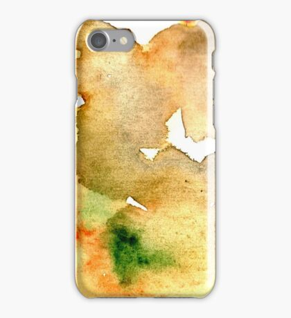 Watercolor texture ocher and clear blue iPhone Case/Skin