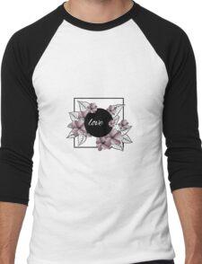 violet flowers and leaves in square frame Men's Baseball ¾ T-Shirt