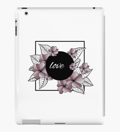 violet flowers and leaves in square frame iPad Case/Skin