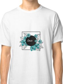 blue flowers and leaves in square frame Classic T-Shirt