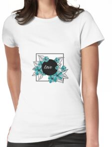 blue flowers and leaves in square frame Womens Fitted T-Shirt