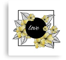 yellow flowers and leaves in square frame Canvas Print