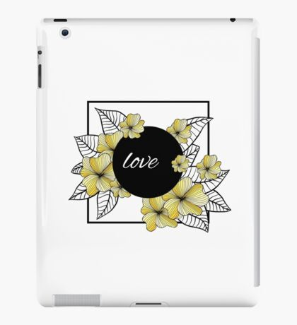 yellow flowers and leaves in square frame iPad Case/Skin