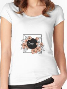 orange flowers and leaves in square frame Women's Fitted Scoop T-Shirt
