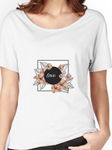 orange flowers and leaves in square frame Women's Relaxed Fit T-Shirt