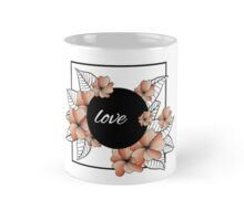 orange flowers and leaves in square frame Mug