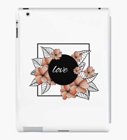 orange flowers and leaves in square frame iPad Case/Skin