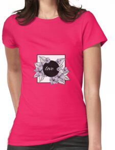 violet flowers and leaves in square frame Womens Fitted T-Shirt